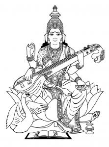 coloring adult india saraswati 3