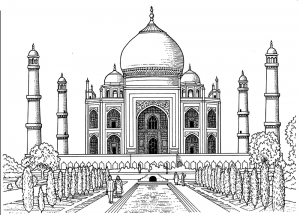 Coloring page difficult taj mahal mausoleum in india