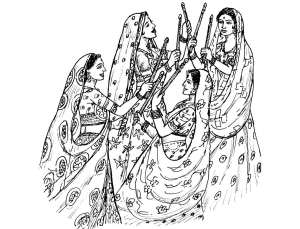 coloring-adult-indian-woman-tradition-sail free to print