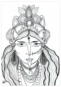 Coloring Page Of The Goddess Kali Who Comes From Hindu Religion She Is Preservation Transformation And Destruction
