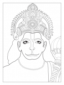Coloring page adult Hanuman chest the Divine Monkey