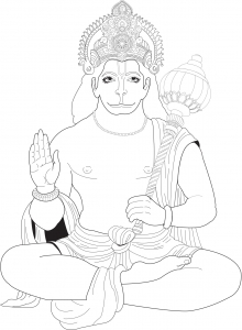 Coloring page adults hanuman