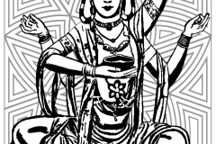Coloring page india shiva thick lines with background
