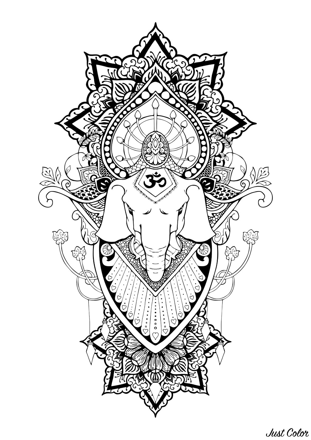 Ganesha is one of the best-known and most worshipped deities in the Hindu pantheon.  In this coloring page, only his head is represented, with beautiful mandalas and elegant patterns