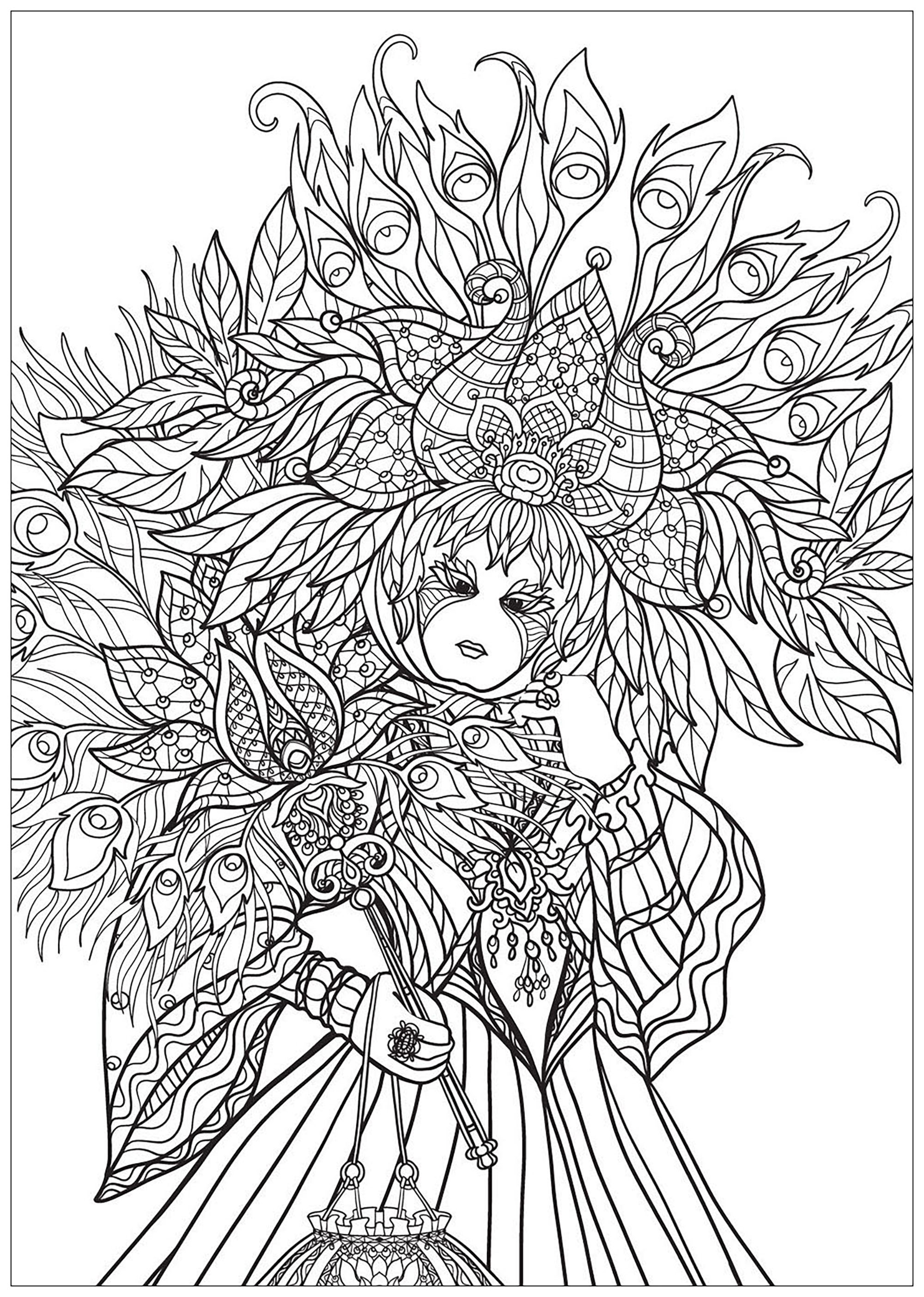 Magnificent Venetian Carnival Dress to color