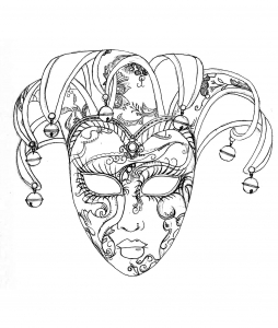 Coloring venice carnival mask