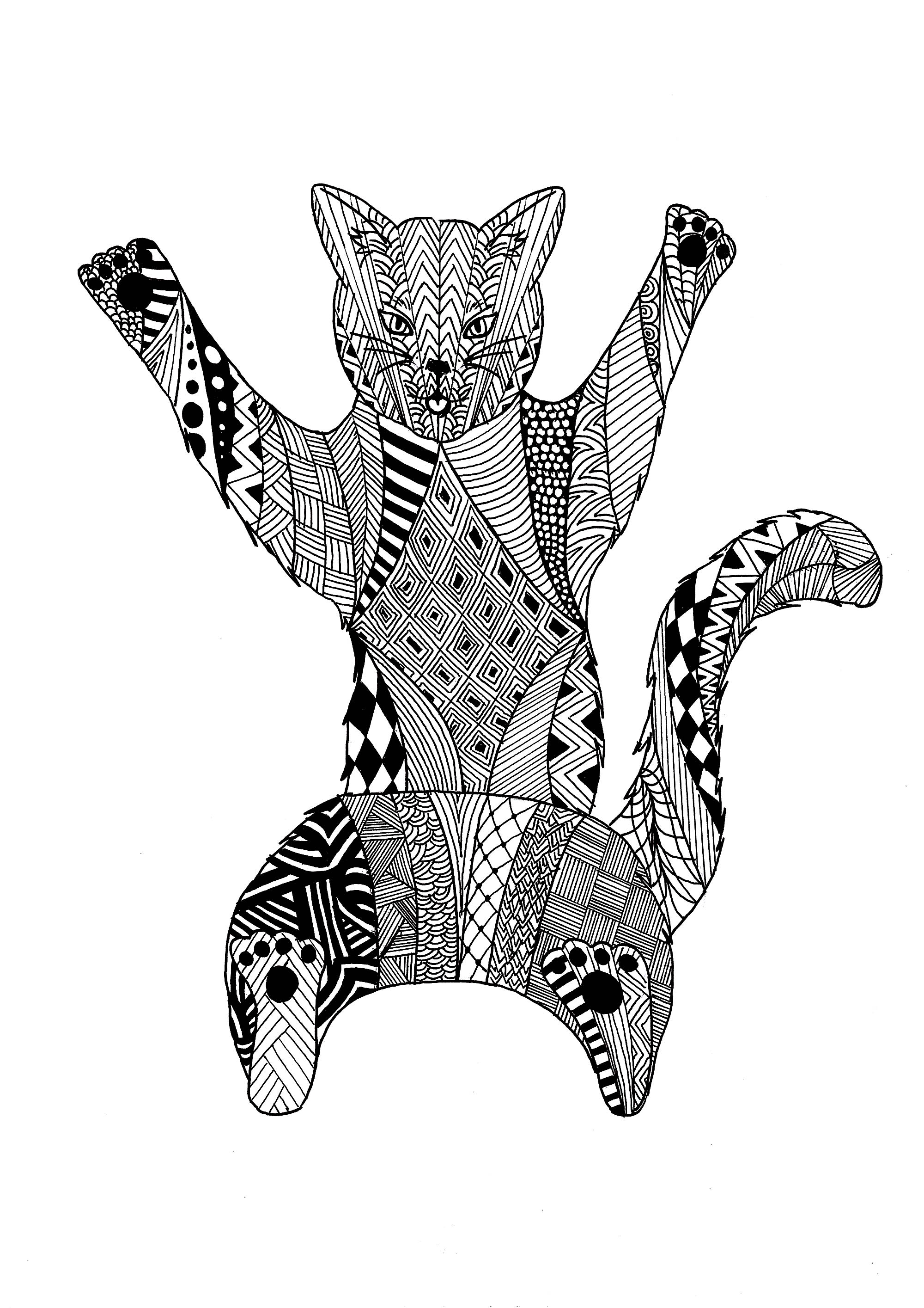 Page Zentangle Cat Cats Adult