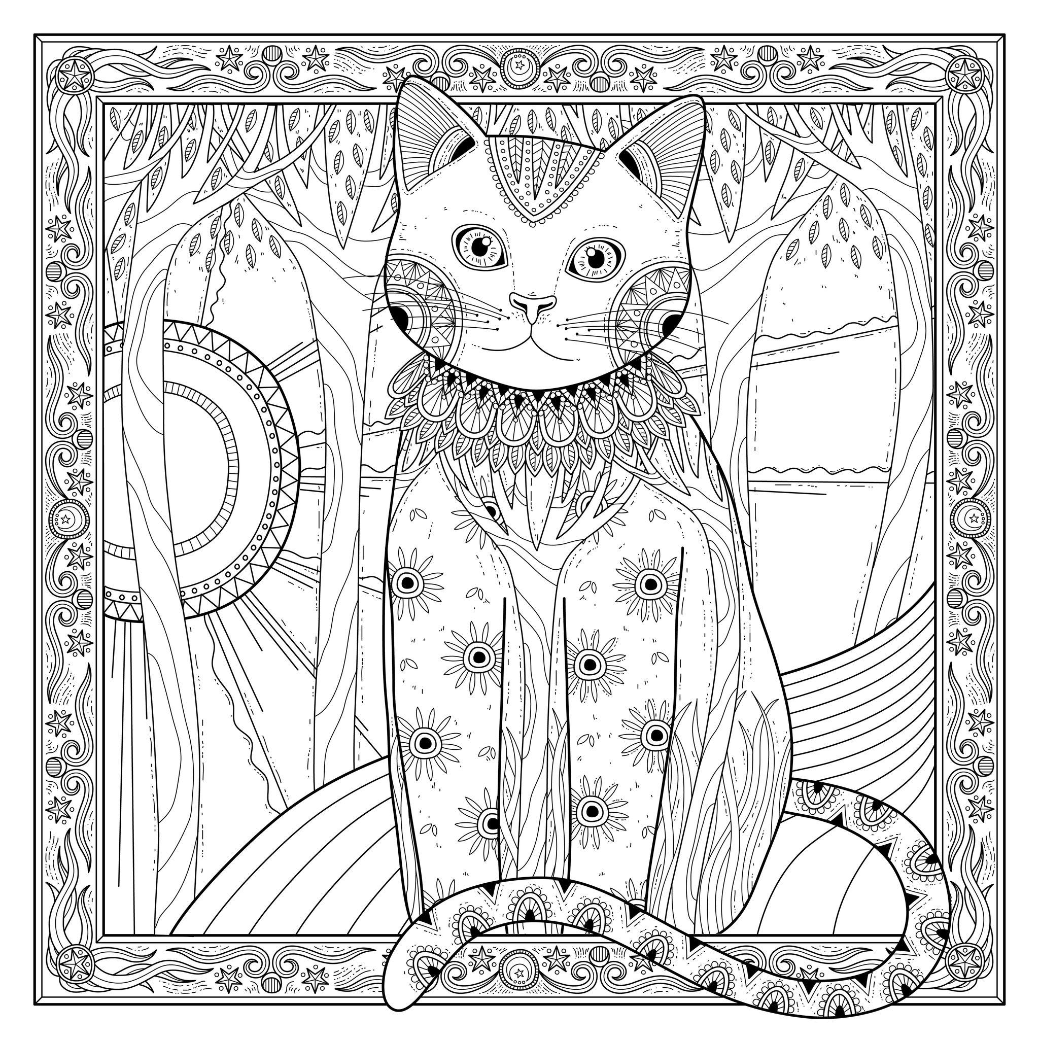 Chat et soleil dans magnifique cadre - Cats Adult Coloring Pages