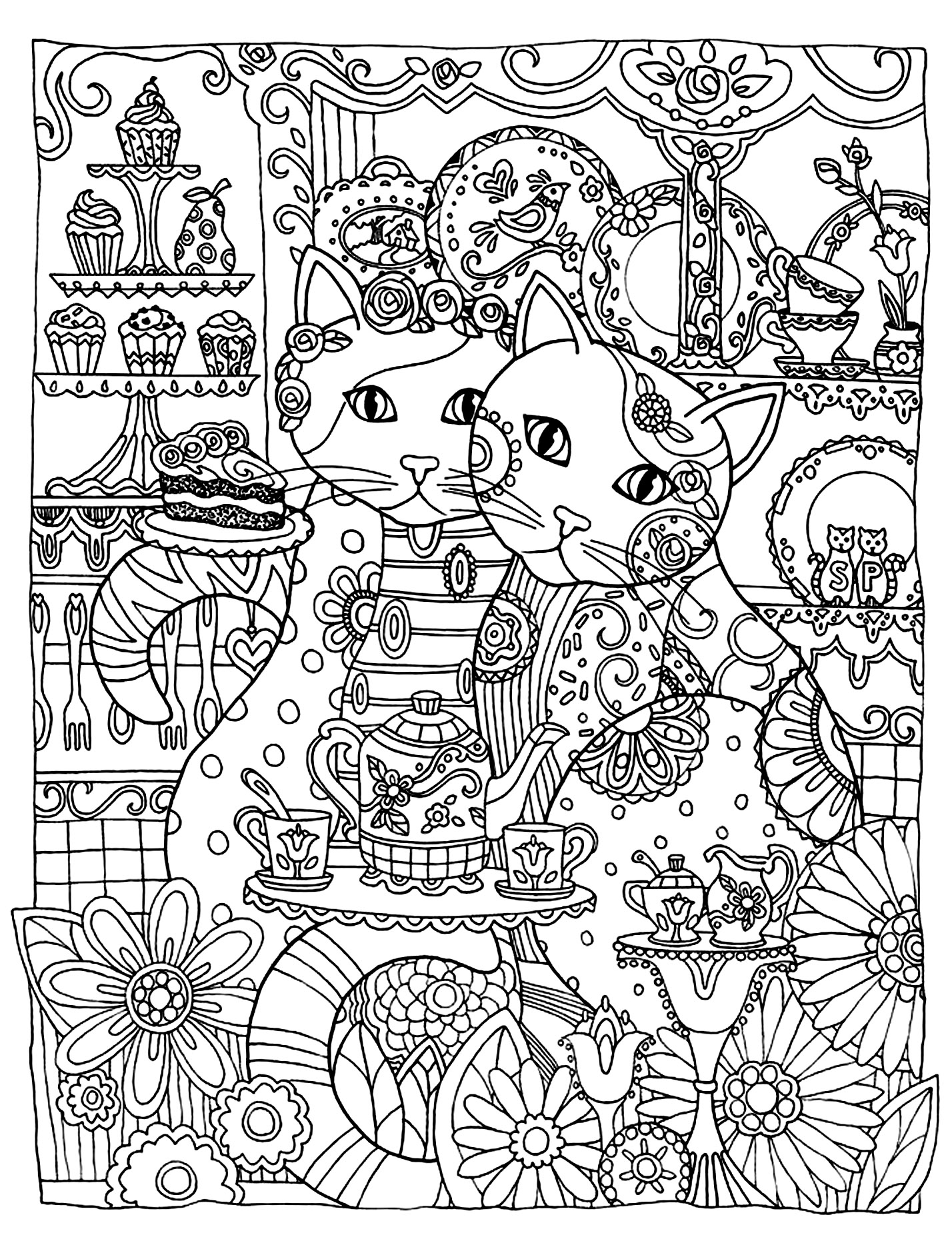 Two loving cats to print & color for free (Source : ©Marjorie Sarnat Dover Publications. All Rights Reserved)