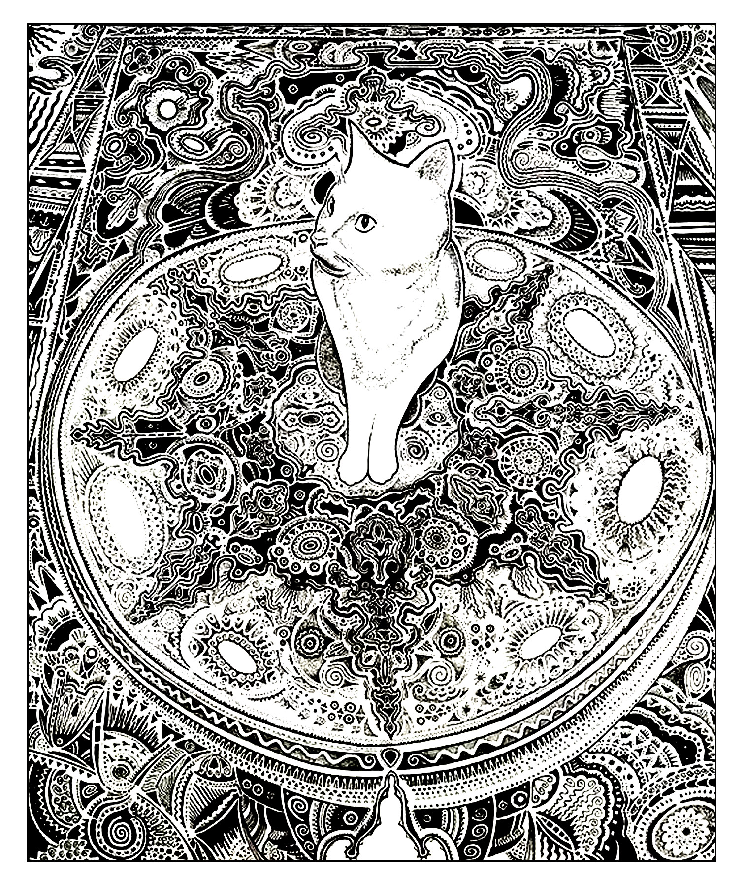 Cat on carpet - Cats Adult Coloring Pages