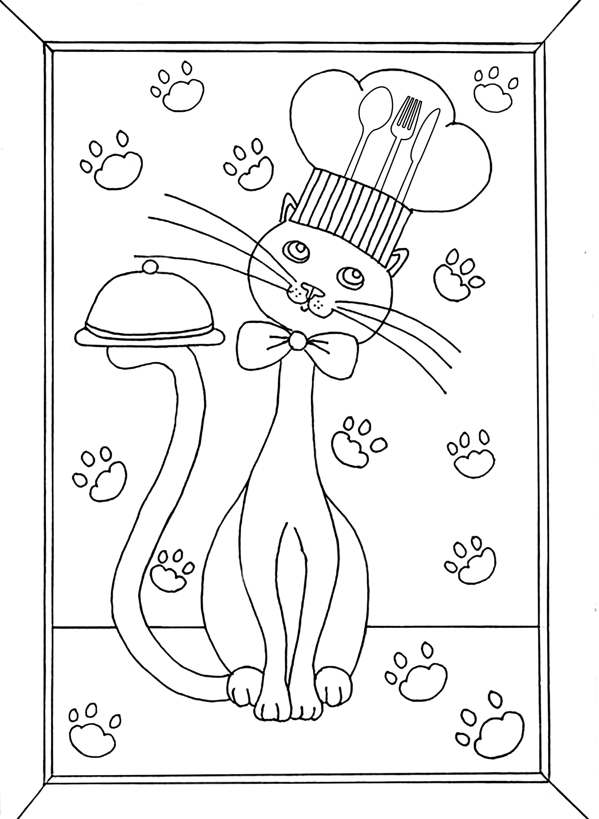 Cooking Cat Cats Adult Coloring Pages