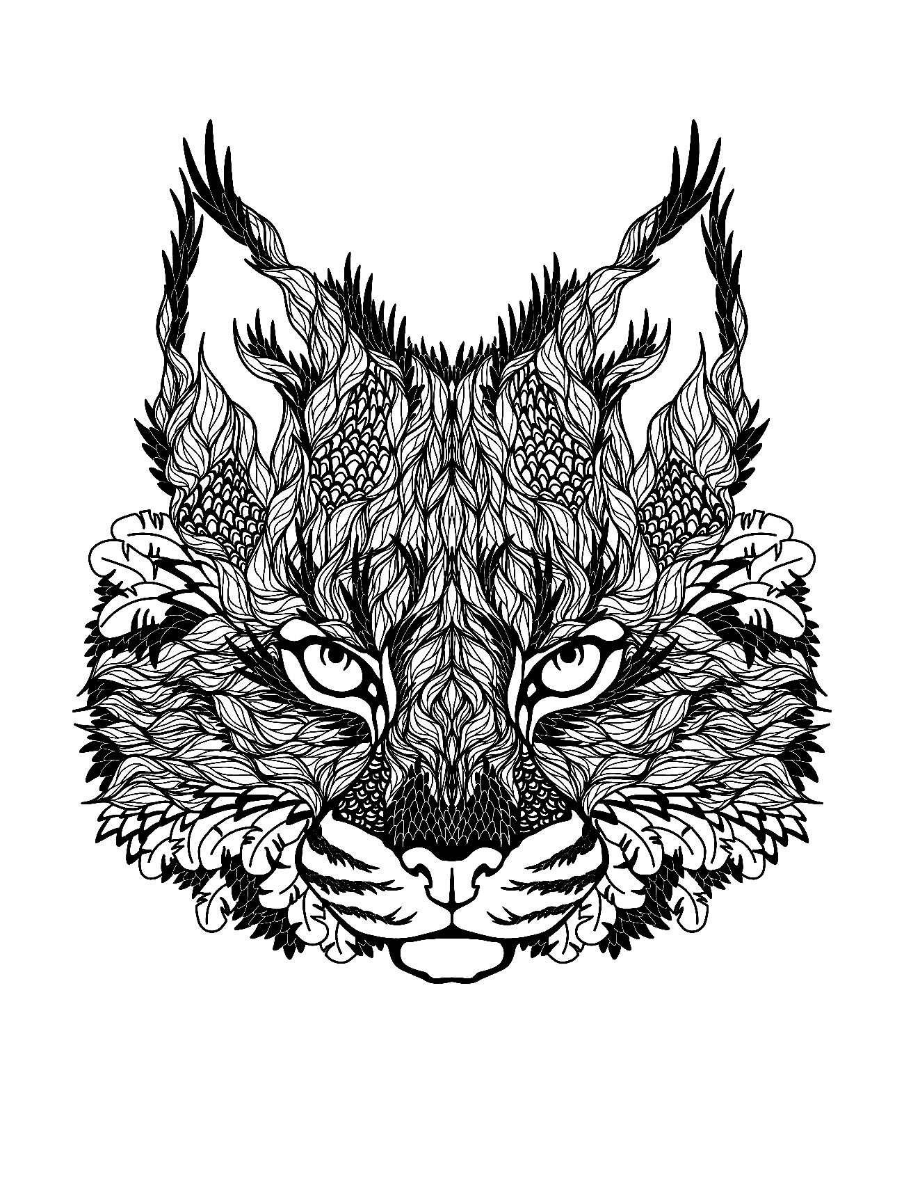 Drawing of leaves constituting a majestic cat head ...