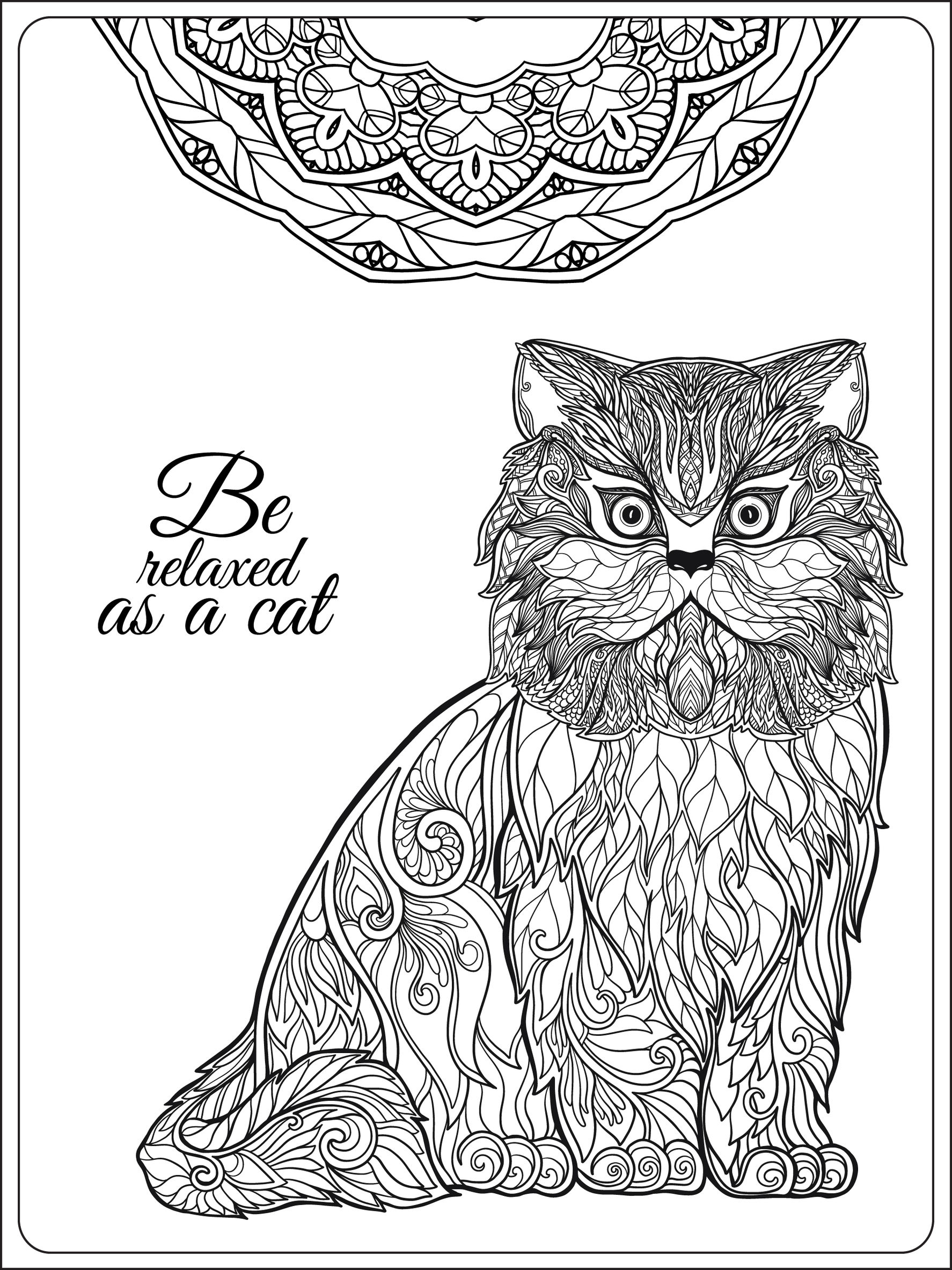 Coloring pages adults be relaxing as a cat by elena besedina