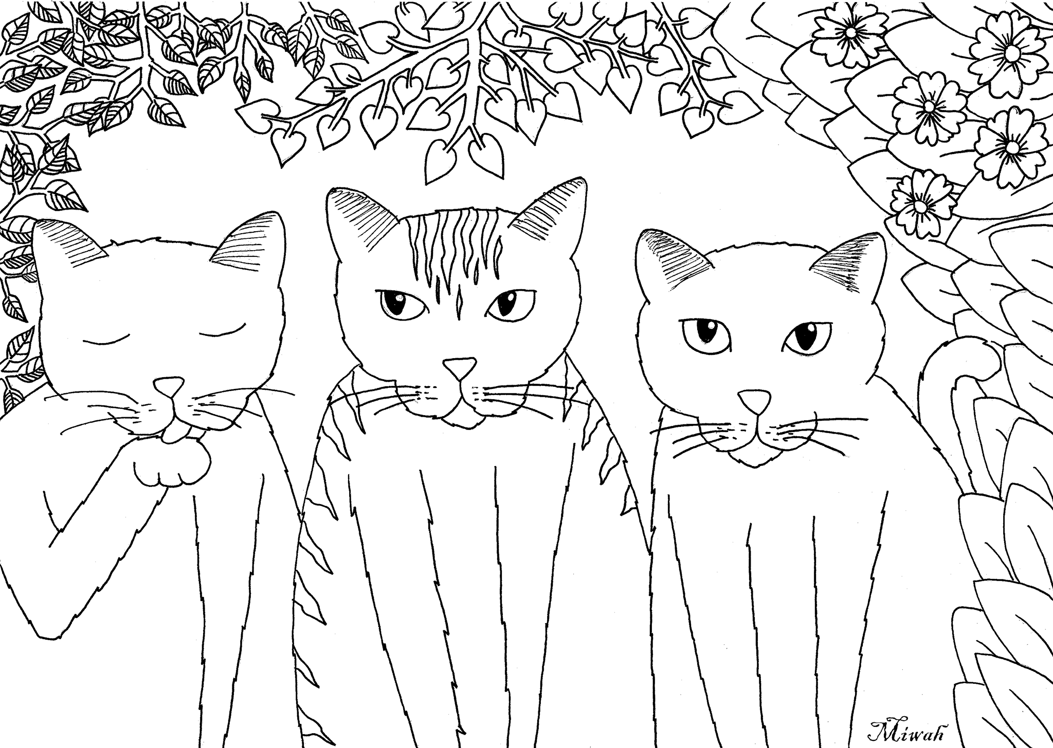 Tree little funny kittens, Simple coloring page