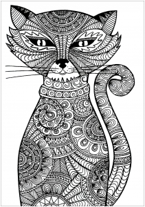 Coloring adult cat