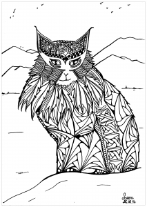 Coloring adult leen margot mountains cat