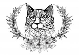 Cat and laurel wreath
