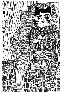 Coloring cat gold phase klimt by cheri from the crafty sisters