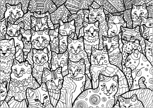 Coloring page full of cats