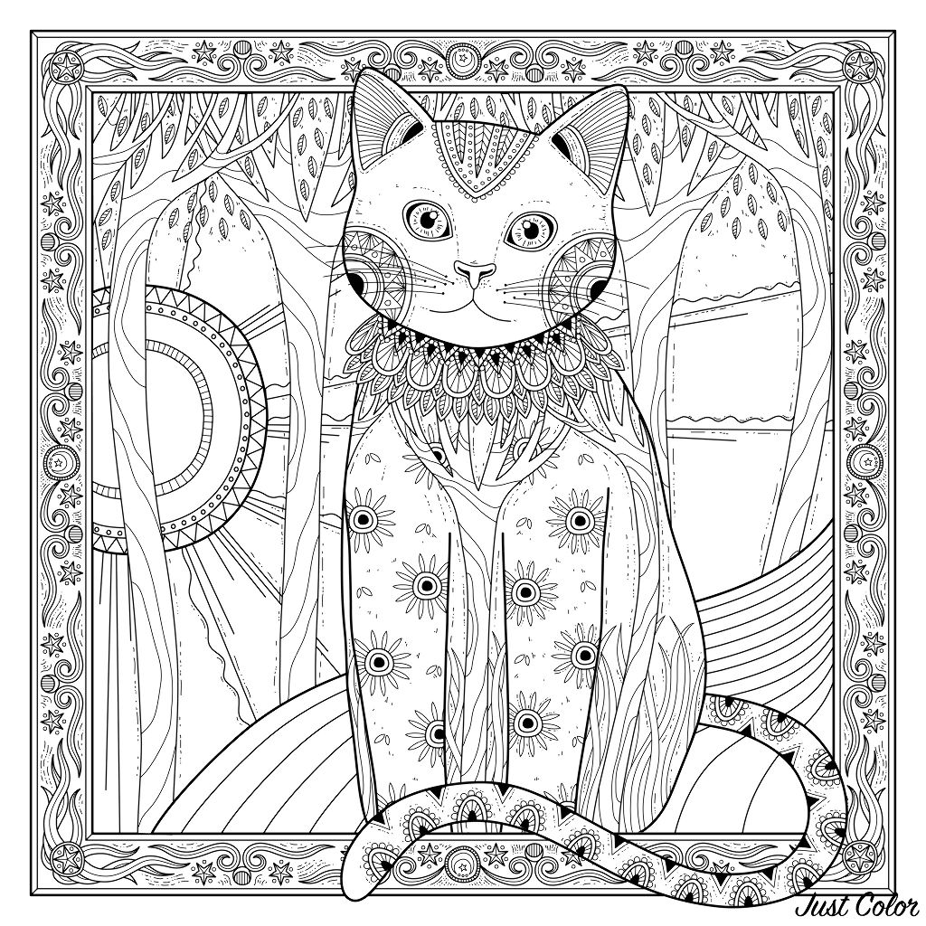 Elegant cat coloring page, with beautiful frame