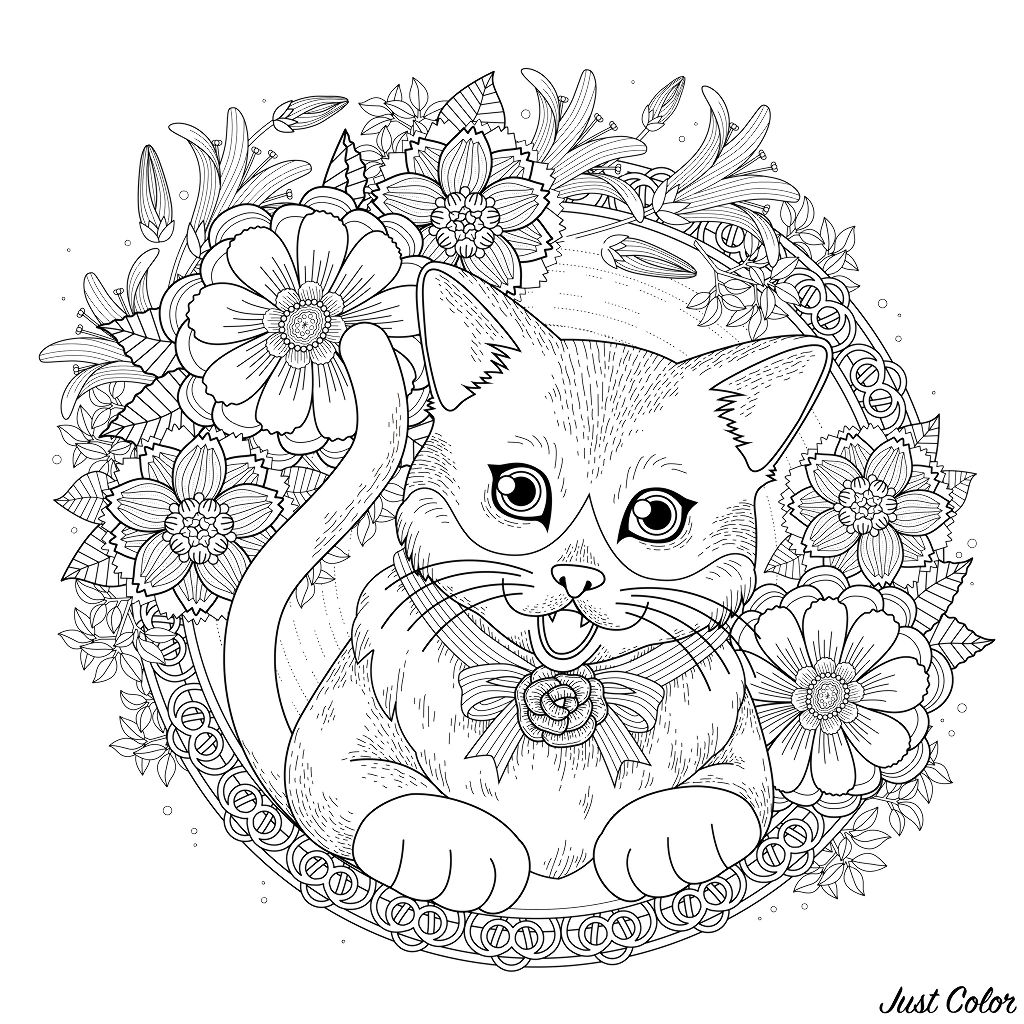 adorable kitty coloring page with floral wreath in exquisite line.