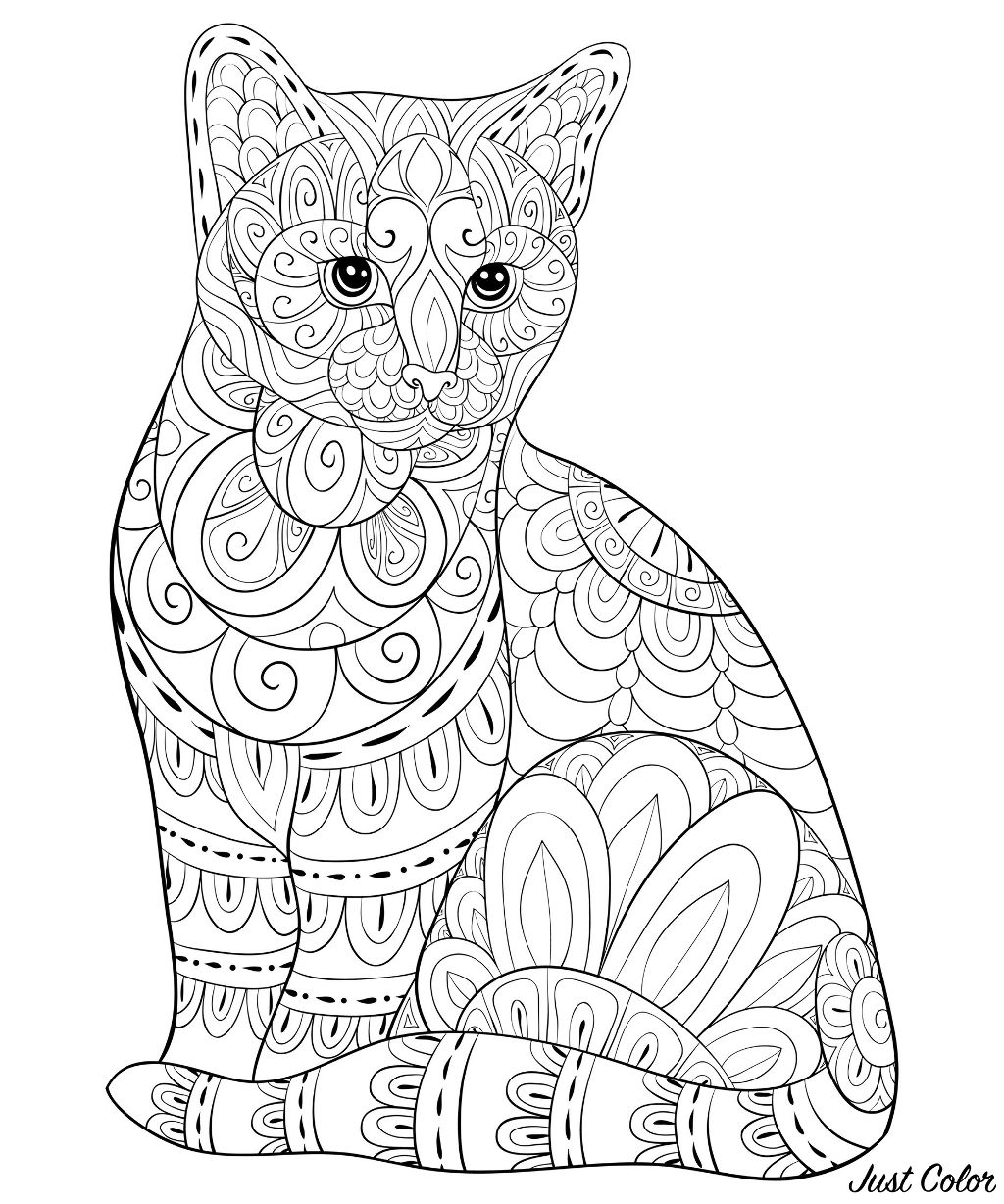 A cute cat with zen ornaments for adults for relaxing activity. Simple Zentangle patterns