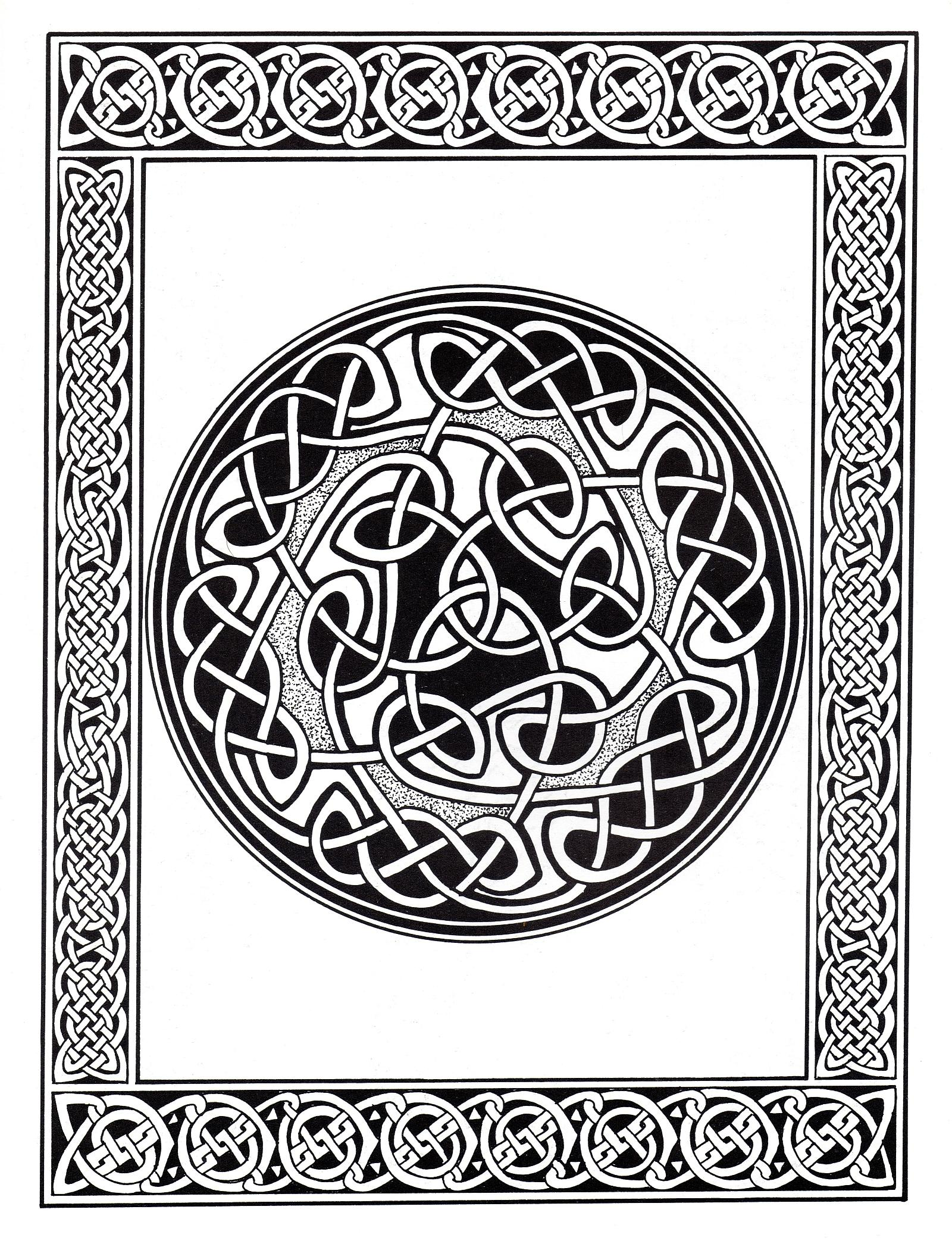 Celtic art design looking like a Mandala, with a border with patterns