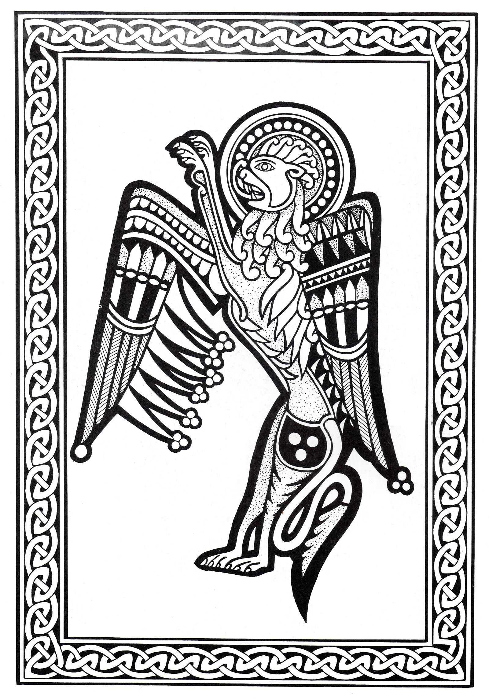 Magnificent Celtic art drawing, with lion with wings