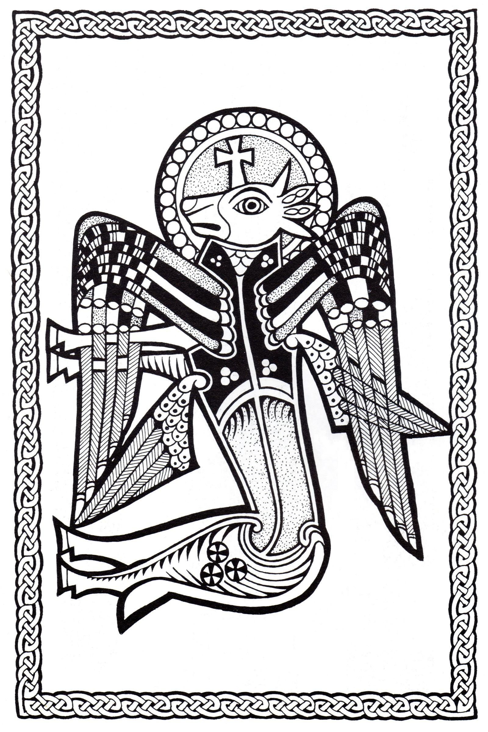 Magnificent Celtic art drawing, with animal with wings