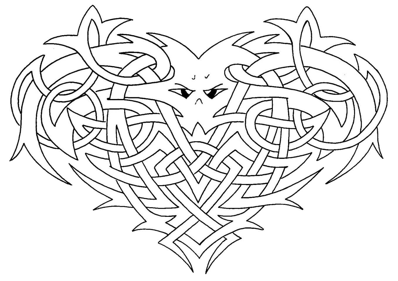 Celtic art drawing, with intricate elements, forming an heart