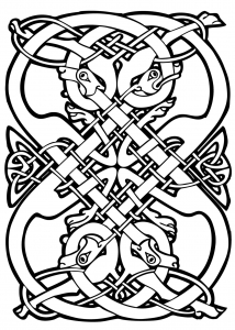 Celtic Art Design With Intricate Patterns And Animal Heads
