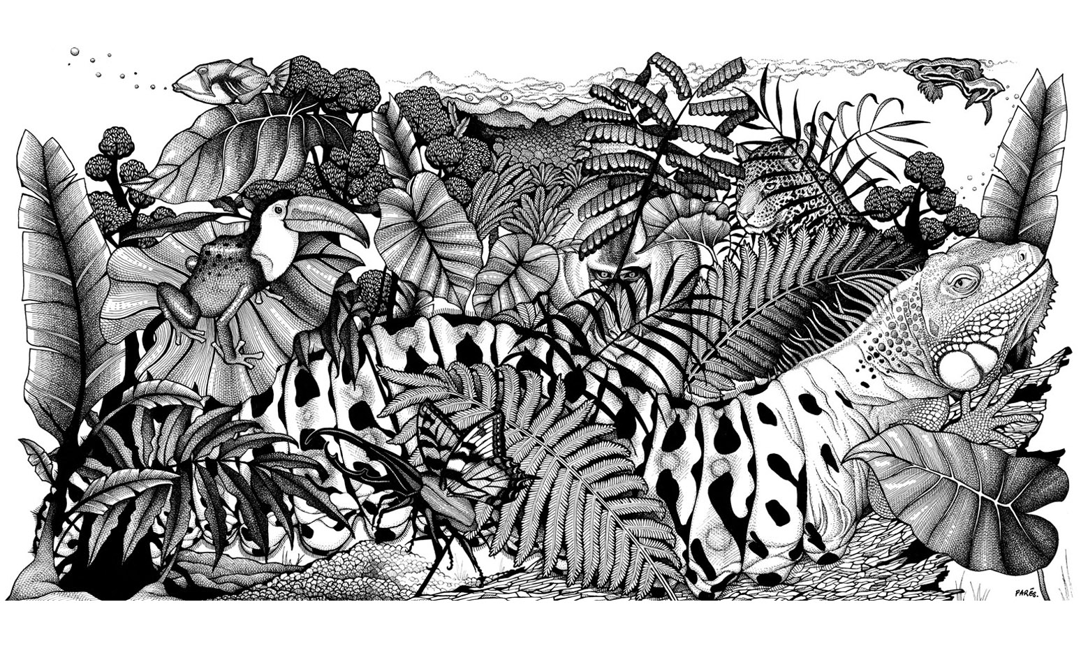 Stunning black and white drawing to print and color with lush vegetation hiding many animals ... In the coloring to see them more easily! Many details