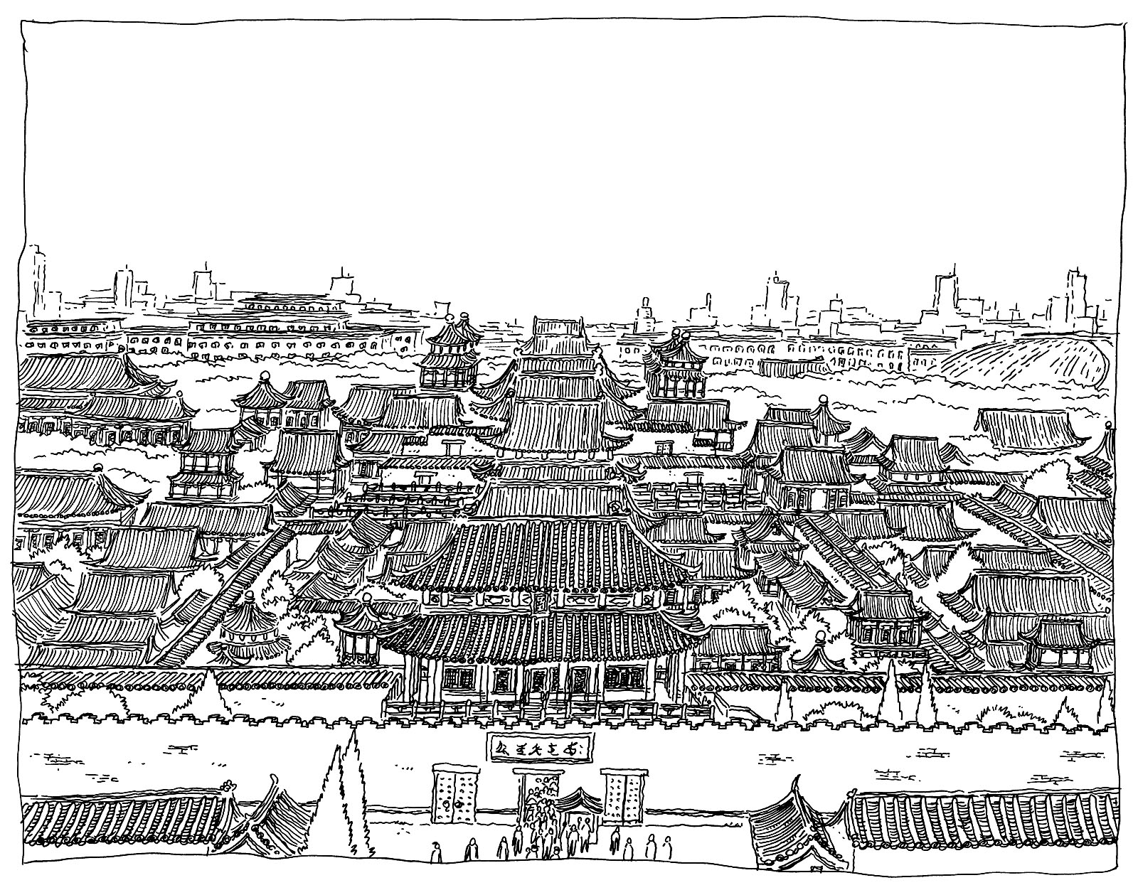 Forbidden city China Adult Coloring