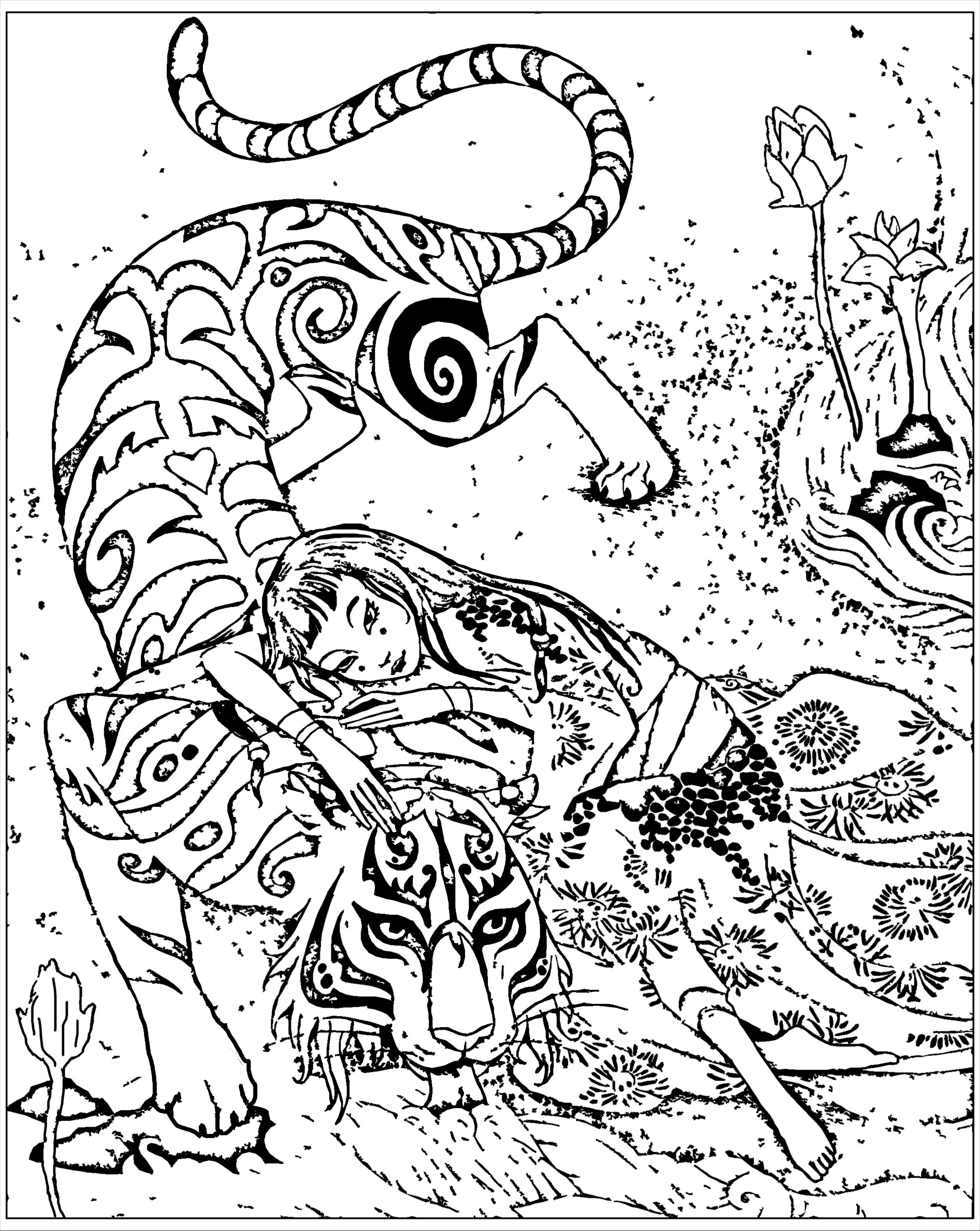 Coloring page inspired by the book 'Tiger devoted' by Qifeng Shen