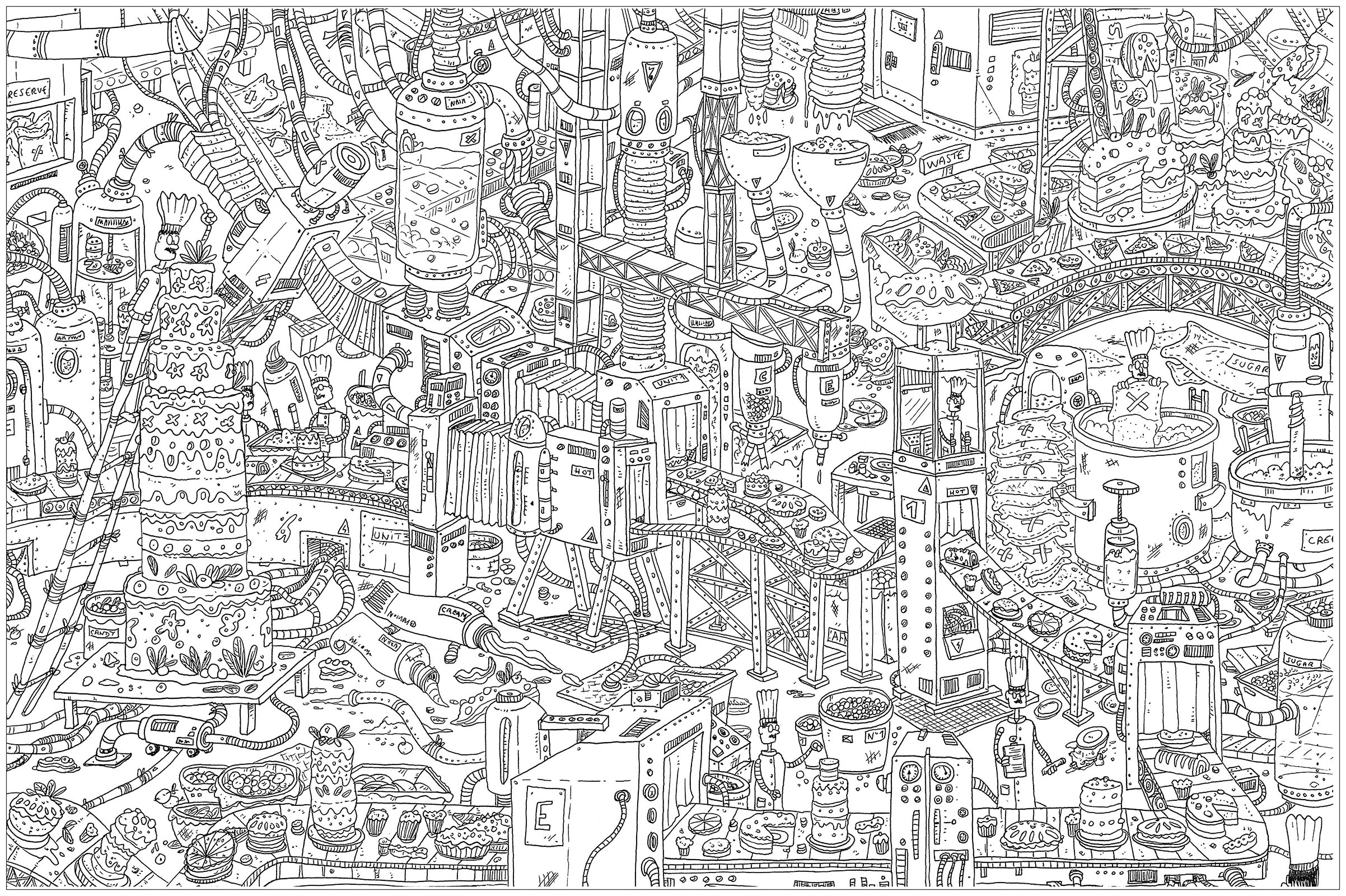 Cakes A Complex Coloring Page Where Is Waldo Style