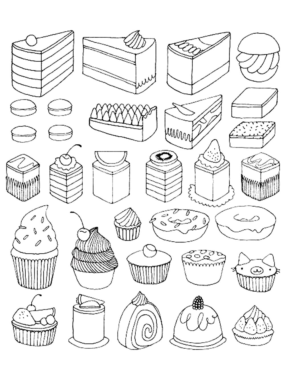 Cupcakes and little cakes Cupcakes Adult Coloring Pages