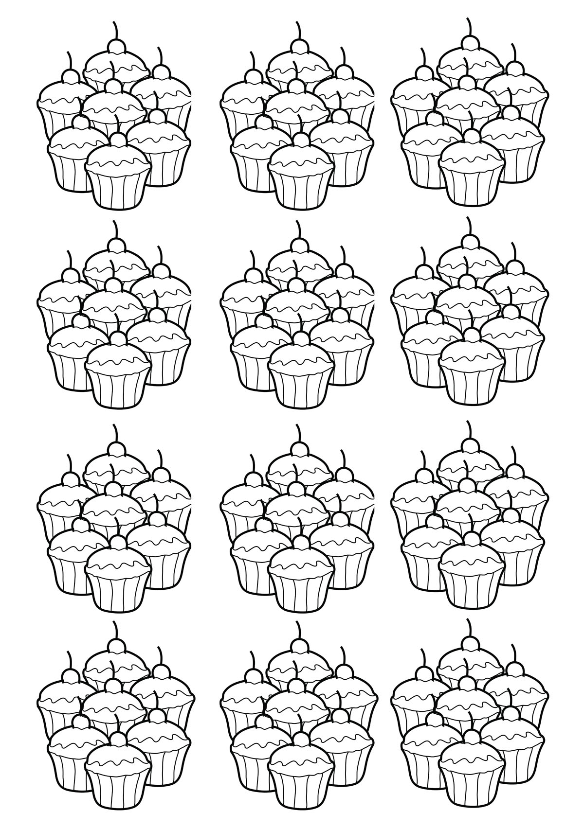 Basic mosaic of cupcakes to color