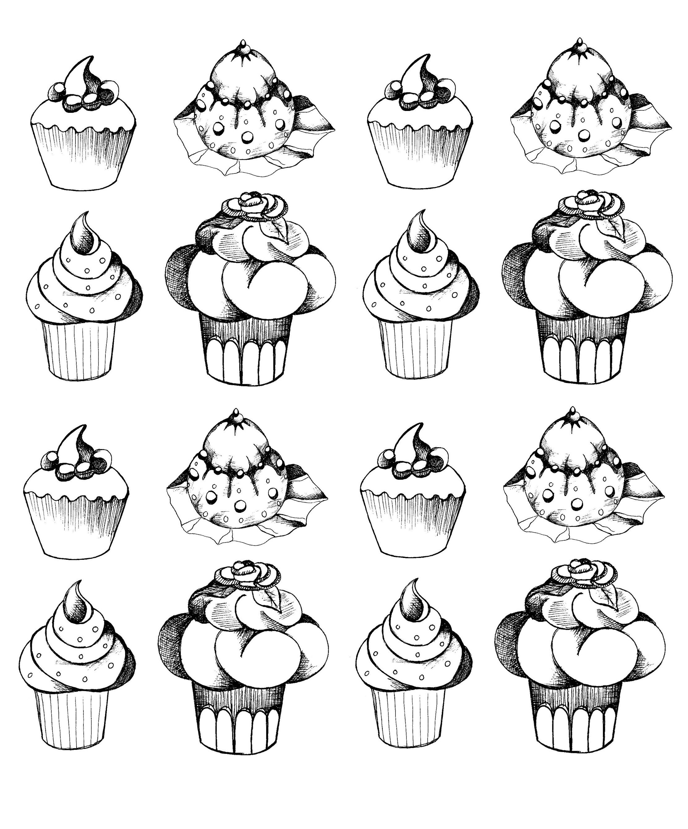 cupcakes oldstyle Cup Cakes Coloring pages for adults JustColor