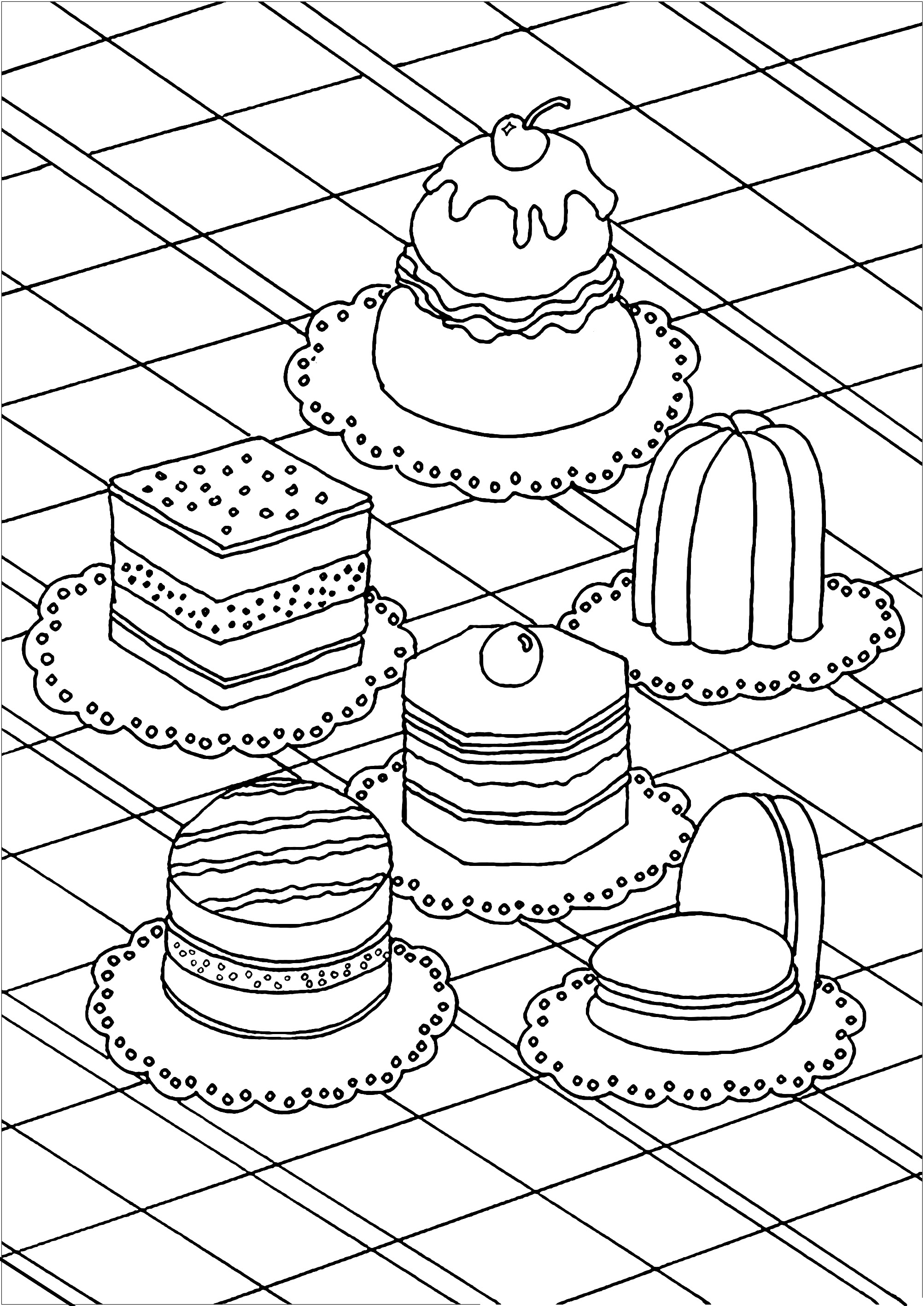 Treat yourself by coloring these various pastries