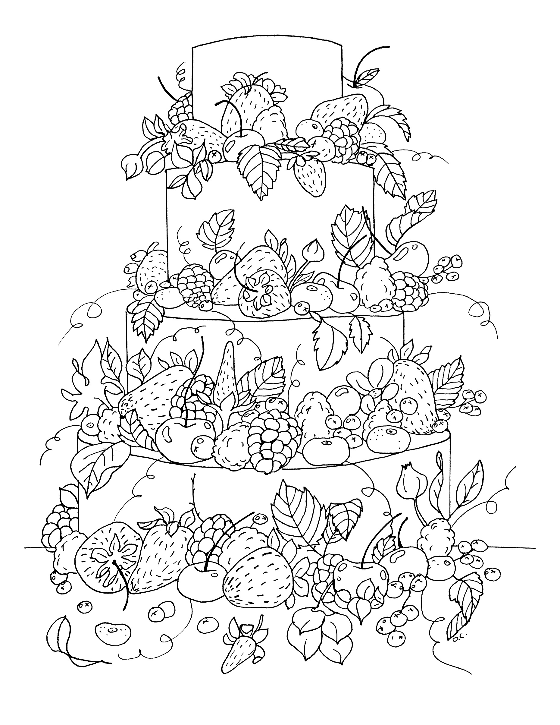 Big Fruit Cake Cupcakes Adult Coloring Pages