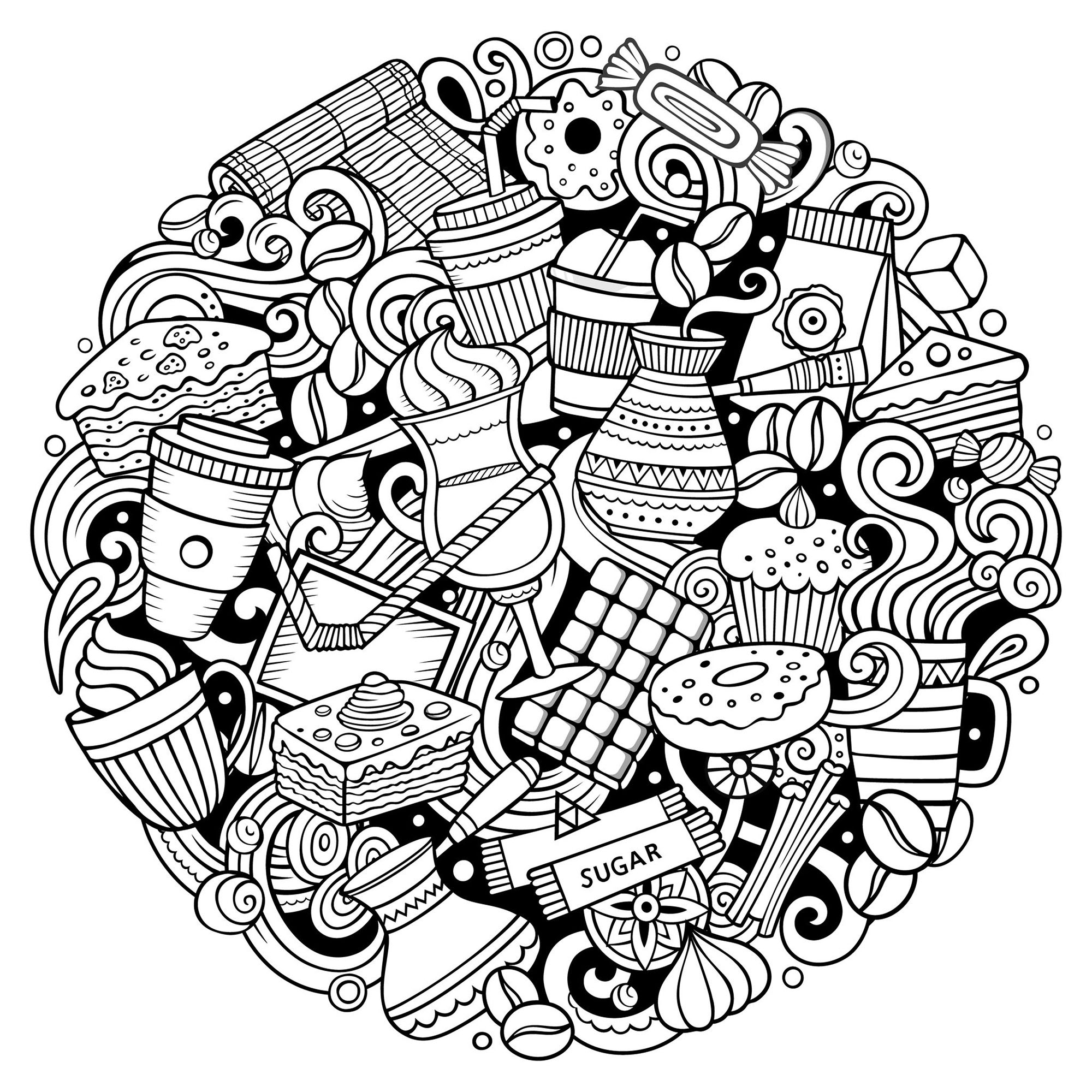 Sweet circle - Cupcakes Adult Coloring Pages