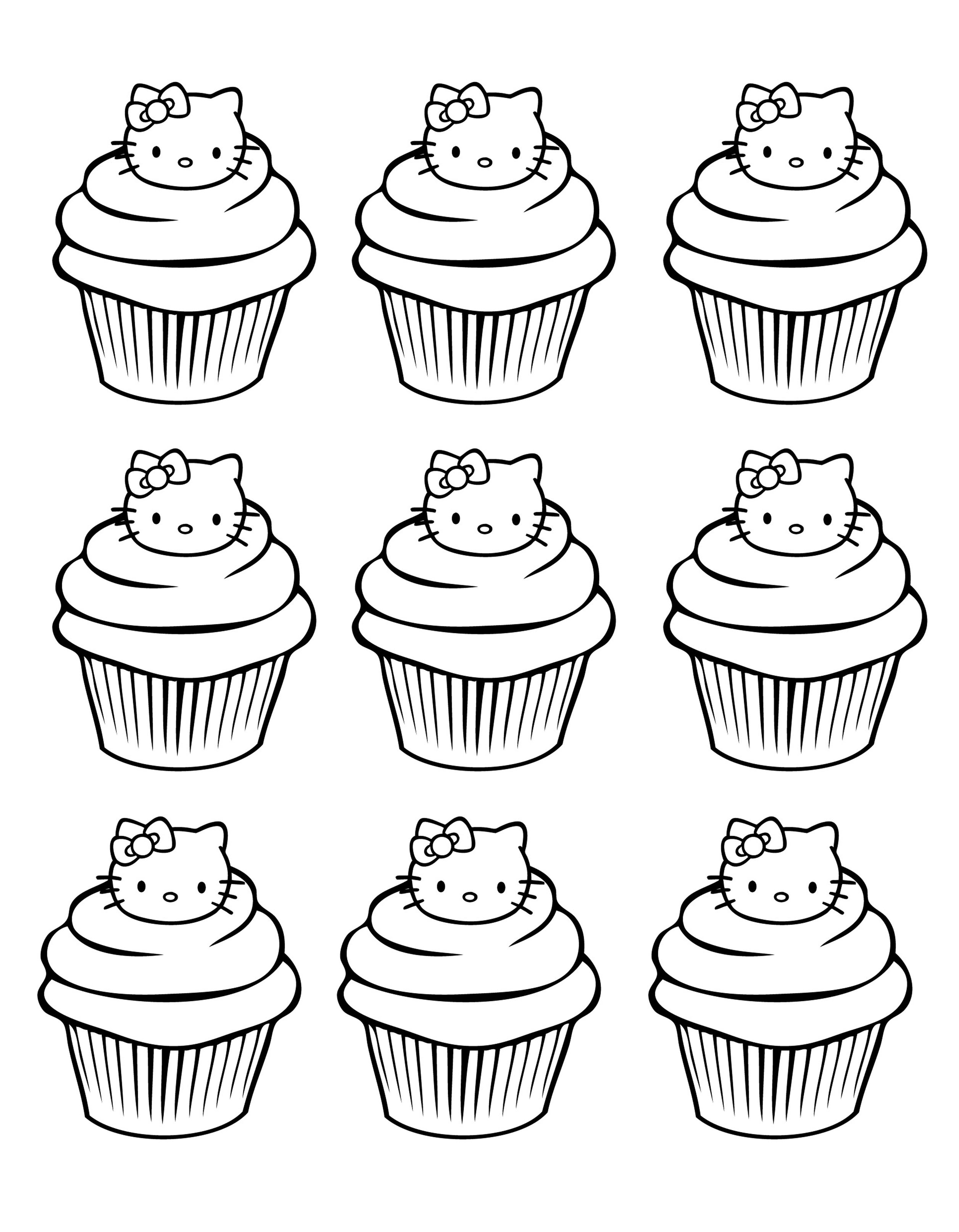 cupcakes hello kitty simple Cup Cakes Coloring pages for