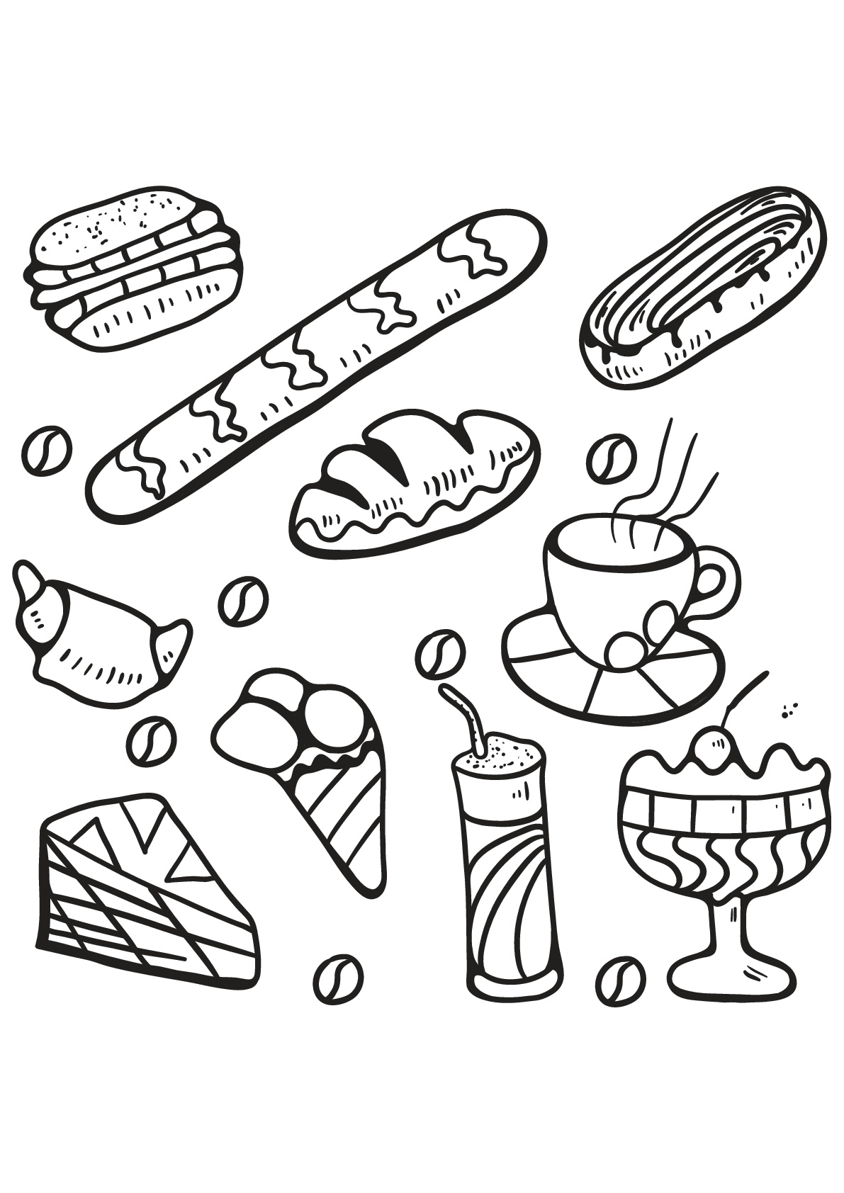 different desserts cakes and cupcakes - Coloring Stencils