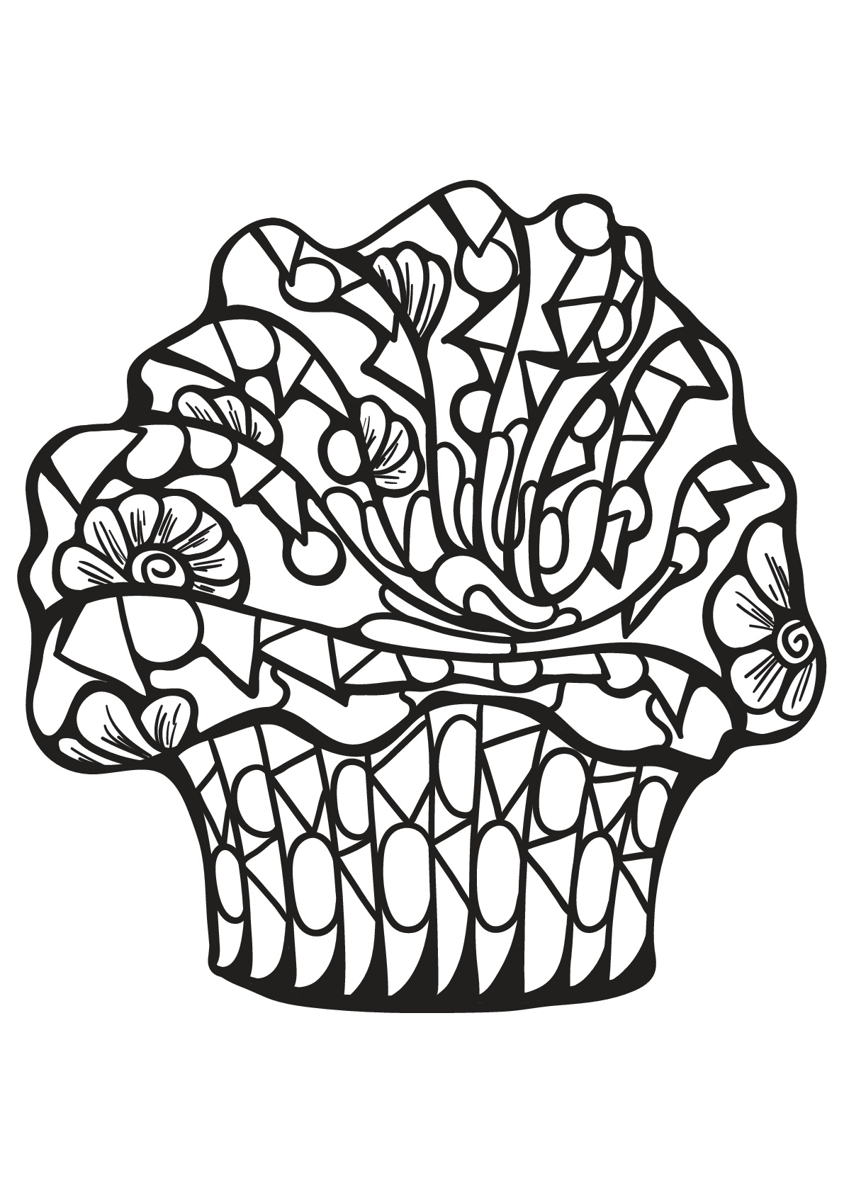 Free book cupcake 7 - Cupcakes Adult Coloring Pages