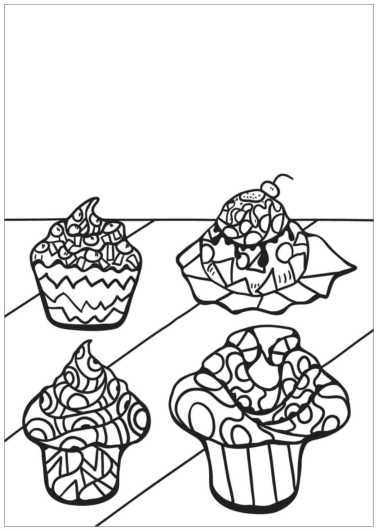 Free Book Cupcake 8 Cupcakes Adult Coloring Pages