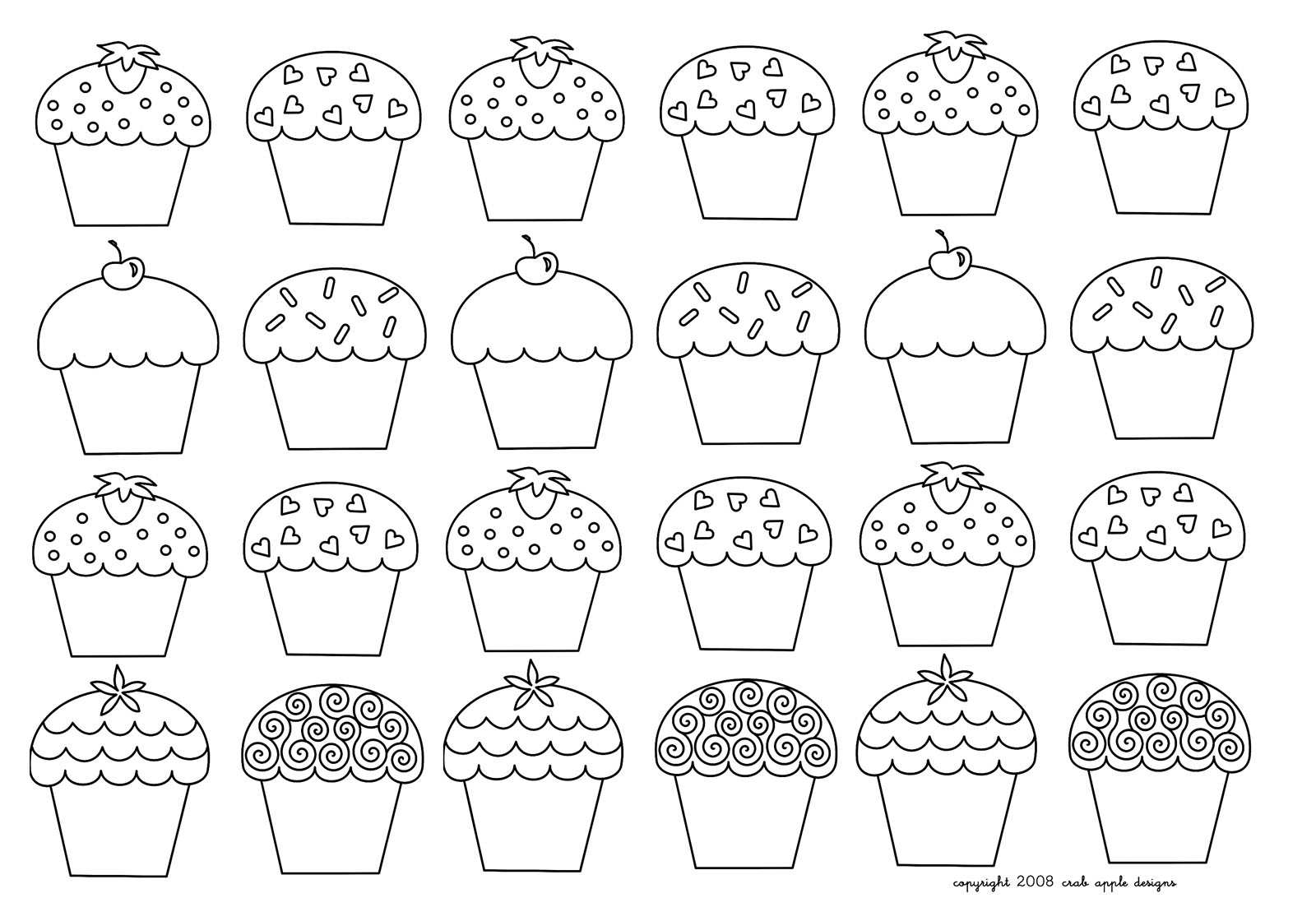 Very simple Cupcakes to color
