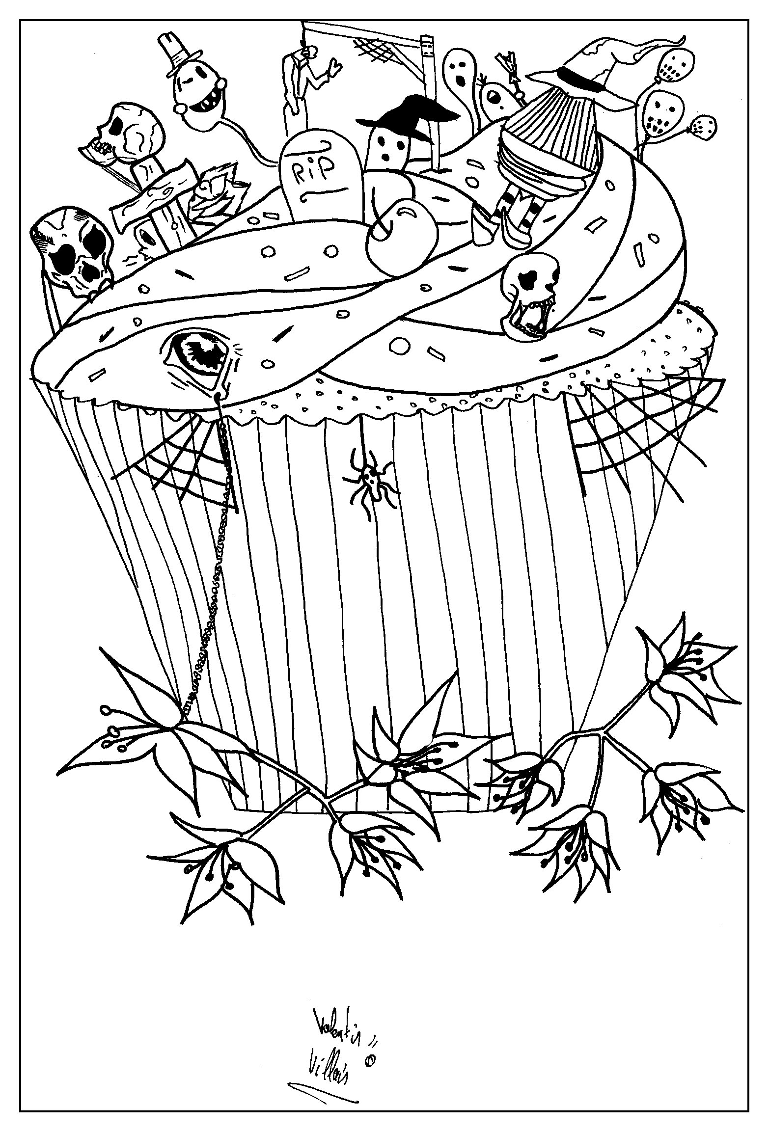 Coloring page of a pretty special cupcake