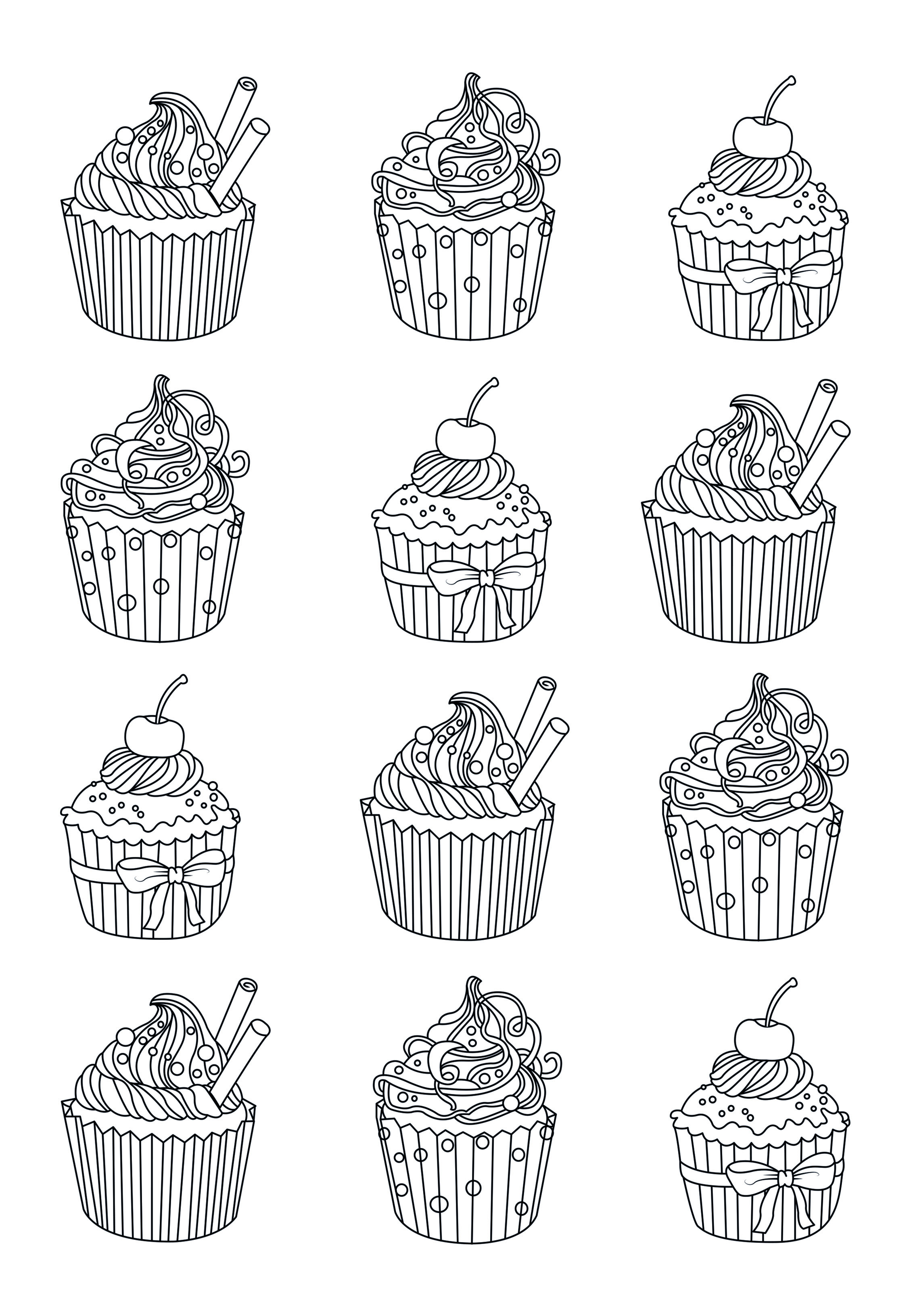 Cupcakes easy Celine - Cupcakes Adult Coloring Pages