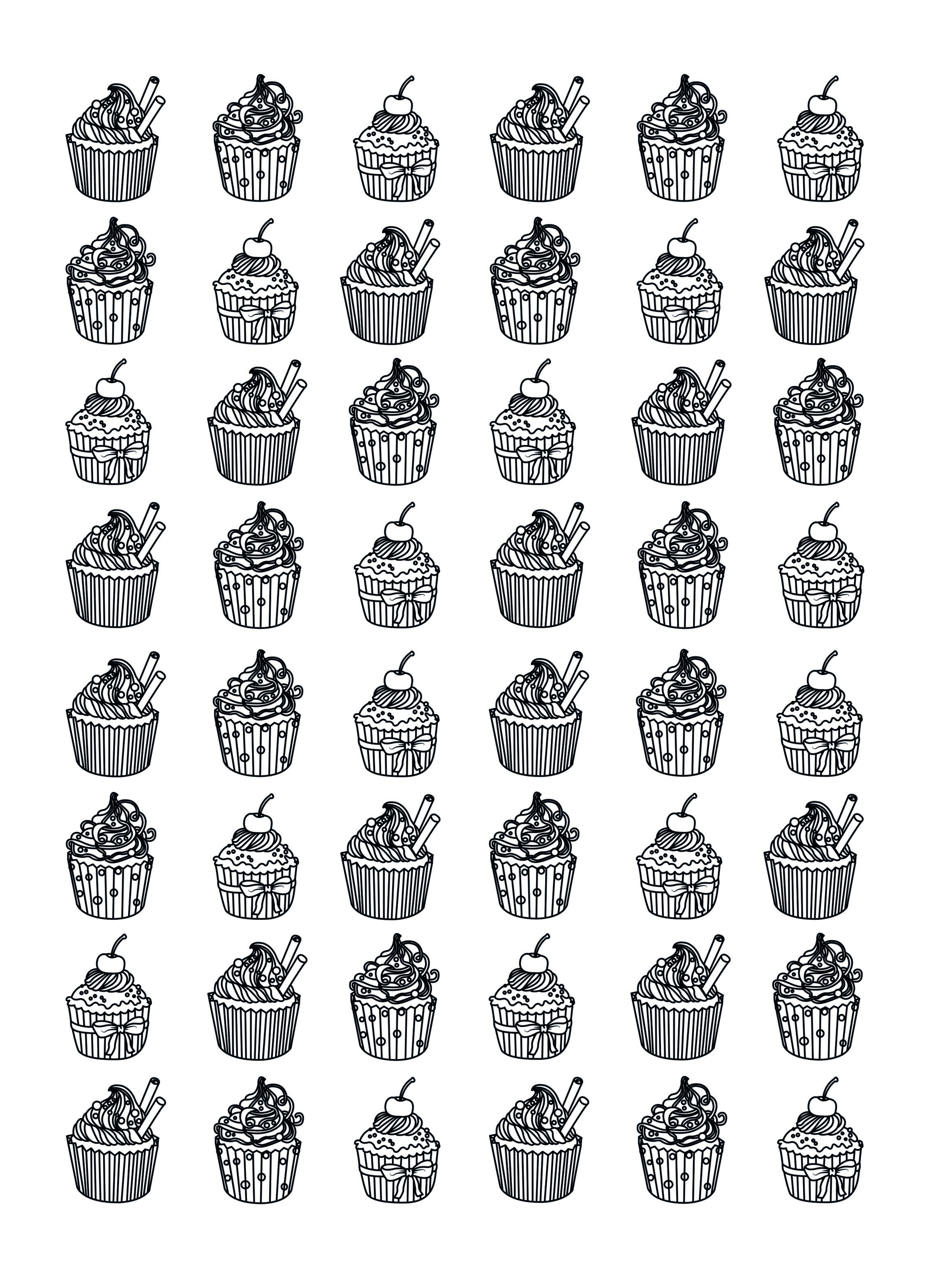 Cupcakes hard Celine - Cupcakes Adult Coloring Pages