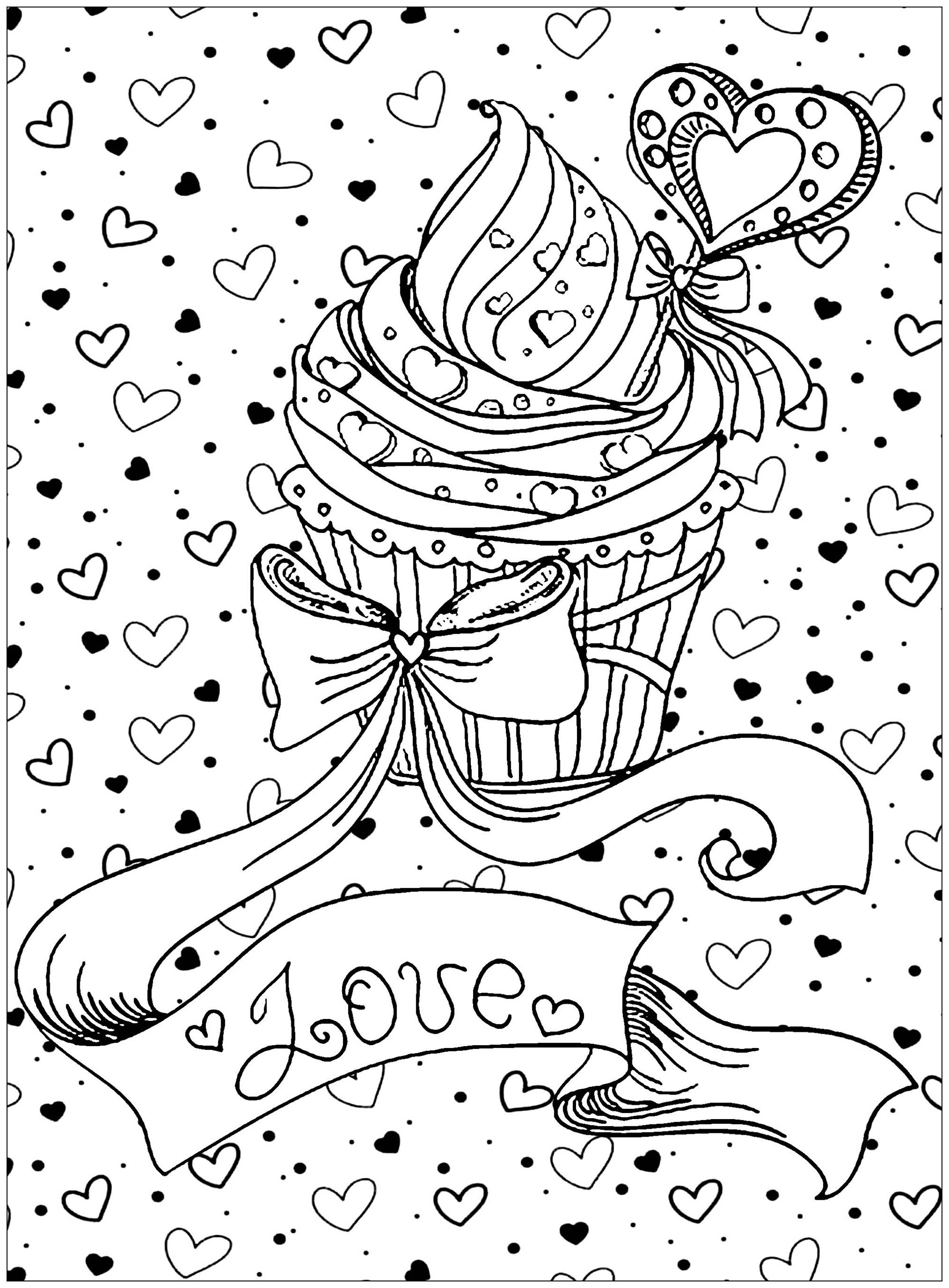 coloring page cupcake love - Cupcakes Coloring Pages